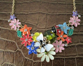 Floral Butterfly Statement Necklace