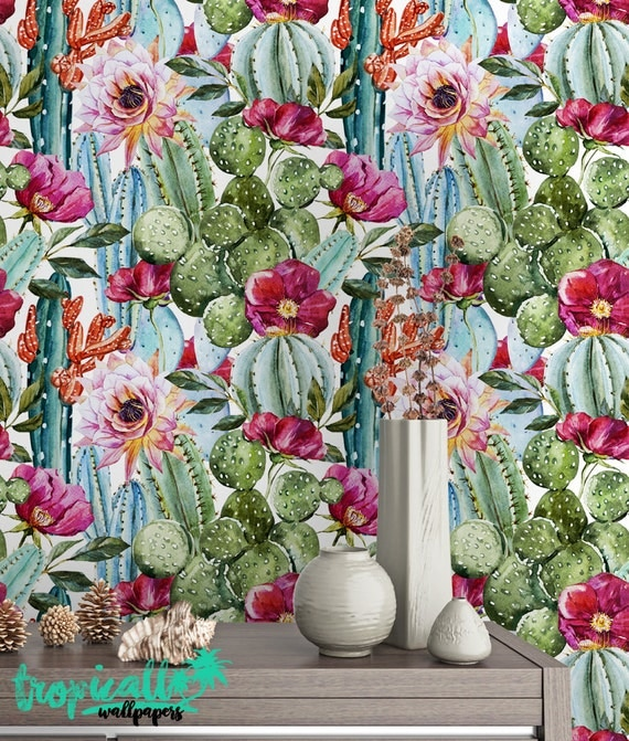 Watercolor Cactus Wallpaper Removable Wallpapers Floral