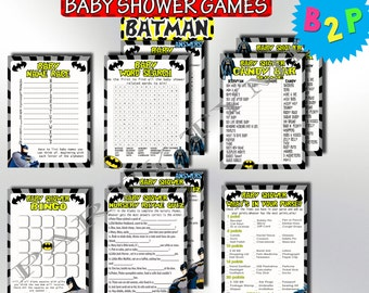 Printable Baby Shower Games Batman, Batman Baby Shower Games Package, Baby Shower Games Set Pack, Boy Shower Games, Instant Download - b01