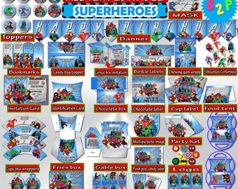 Superheros Birthday Decorations, Editable Birthday Party Kit Superhero, Printable Birthday Party Decorations, Instant Download