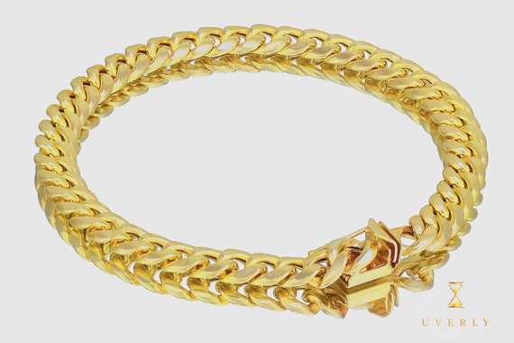 """7mm 10K Semi-Solid Yellow White Gold Miami Cuban Link  Bracelet 7""""-9"""" inches"""