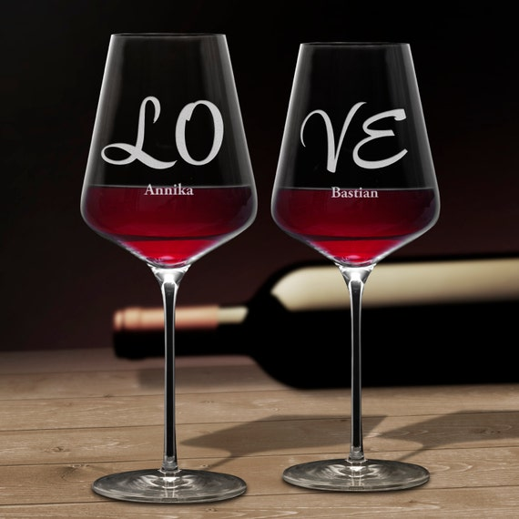 Wine Glasses - Engraved with LOVE – Personalised with Name - Set of 2