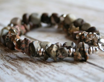 Two Strand Stone Beaded Bracelet, Rustic Stone Beaded Bracelet, Silver Beaded Bracelet, Beaded Bracelet, Boho Beaded Bracelet, Multistrand