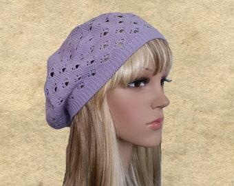Berets knit womens, Beret boho chic, Lilac knit beret, Knit lace beret, Slouchy beret hat, Women's beret hats, Beret hats autumn, Slouch hat
