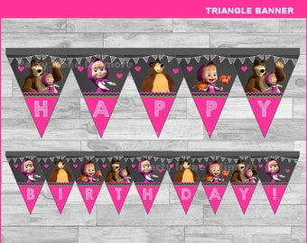 Masha and The Bear triangle Banner Instant download, Masha and The Bear Chalkboard Banner, Masha and The Bear party banner