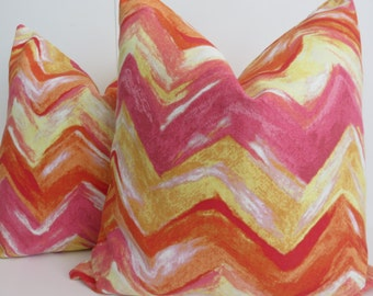 Decorative Pillow Covers - Yellow Pillow Covers - Pink Yellow Orange Pillow covers- Zig zag Pillow Covers- Chevron Pillow Covers- Pillows