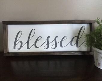 Blessed Framed Wood Sign