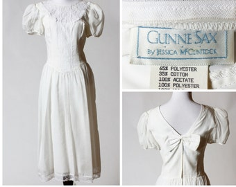 Vintage Women's Dress - Gunne Sax 80s 7 Retro White Made in the USA Jessica McClintock