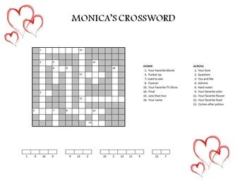 Personalized Crossword // Gifts for Her // Marriage Proposal // Valentine's Day // Unique Gift // Romantic Gift // Wedding Gift