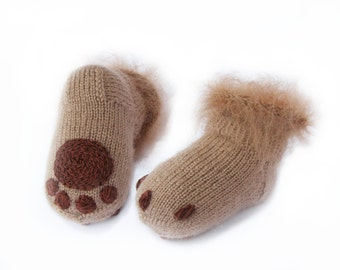 Baby socks Soft  Knitted baby booties Brown wool socks Kitten paws booties Baby shower gift