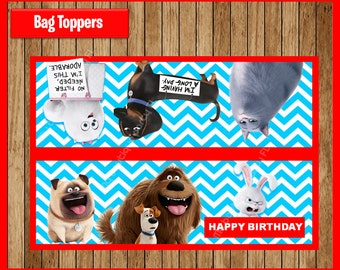 The Secret Life Of Pets Toppers instant download, Printable Secret Life Of Pets Bags toppers, Secret Life Of Pets Treat bags toppers