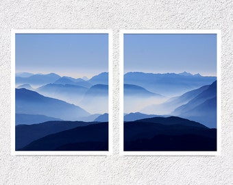 Blue Mountain Blue Wall Art Mountain Art Set of Prints Mountain Print Set of 2 Mountain Landscape Printable Wall Art Set of Two Blue Prints