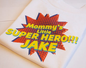Personalized Baby Tee, Mommys Little Super Hero, Typography, POP Graphic Tee, Your Name, Infant Tee, Girl Shirt, Blue, Pink, Baby Gift