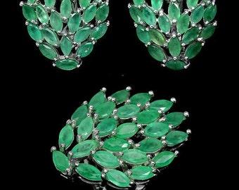 Luxury jewelry: Earrings + ring in solid Silver 925/1000 set Emerald (green)