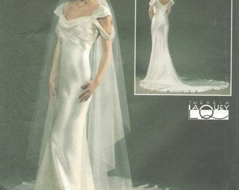 1930s Vintage Sewing Pattern DRESS & VEIL B 36-38-40-42 ins (1460)