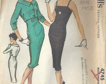 1956 Vintage Sewing Pattern B36 DRESS & JACKET (1567) McCall's 4745