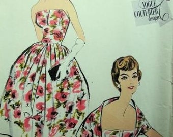 1958 Vintage VOGUE Sewing Pattern B36 DRESS & Bolero (1118) Simonetta of ITALY Vogue 101