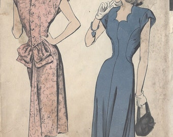"1940s Vintage Sewing Pattern B30"" DRESS (65) HOLLYWOOD PATTERN  415"