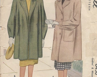 1946 Vintage Sewing Pattern B30 COAT (84) McCall 6450