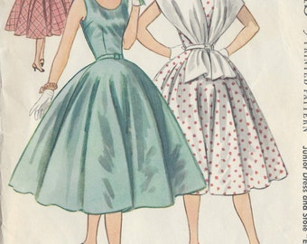 "1955 Vintage Sewing Pattern B33"" DRESS & STOLE (R346) McCalls 3194"