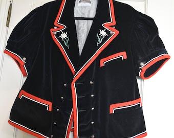 Vintage French Black Velvet Red trim Poodle Jacket