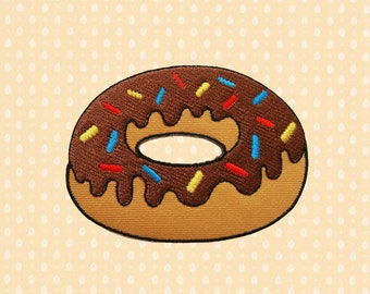 Chocolate Donut Doughnut Iron On Patch Embroidered Sew On Apllique DIY Jeans Patches