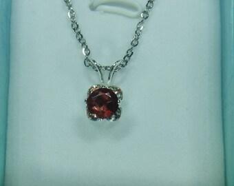 Garnet Clover Pendant