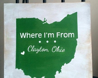 Where I'm From, Ohio, Personalized Sign