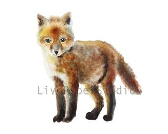 Original Watercolor Baby Fox Painting, Fox NurseryArt, Animal Art, Kids Wall Art, Woodland Decor, Baby Fox Decor, Wildlife Watercolor Art