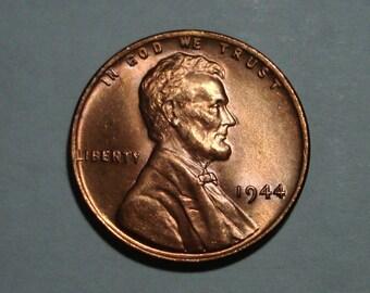 USA 1944-P Philadelphia Mint Copper Lincoln Wheat Cent  BU Condition