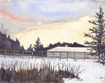 Original Watercolor Painting - Winter Afternoon by W.C. Nooney