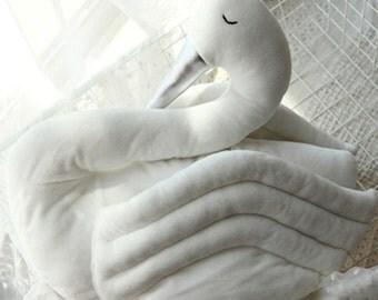 Snowy Swan Cushion - Infant Baby Plush Toy Nursery Decor