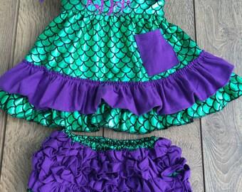 Mermaid outfit, mermaid dress birthday, mermaid romper