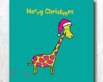 SALE! Giraffe Christmas Card, Cute Christmas Card, Animal Card, Funny Animal Card, Merry Christmas Card, blank inside, 300 gsm card