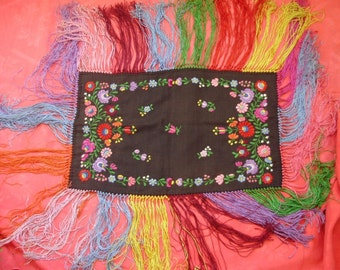 Vintage ,handmade, embroidered Hungarian Matyó doily ,flower pattern