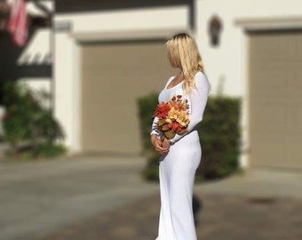 Angel white jersey wedding gown with long train/bridal gown/party gown/maternity wedding dress