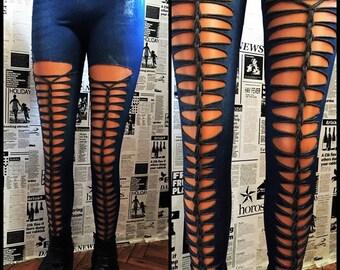 SALE !! Leggings Denim Style Handmade Custom Shredded Braided