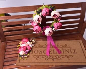 Pink Dream Door Wreath & Mat Set