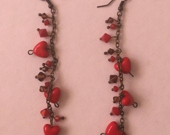 Red hearts earrings with swarovski bicon