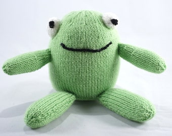 Friendly froggy - handmade knitted wool toy