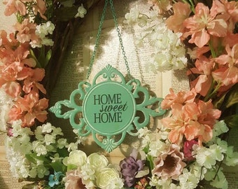 Shabby Chic OOAK Home Sweet Home Door Wreath Wall Hanging