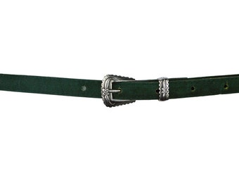 Skinny Antique Silver Buckle Belt UK XS/S