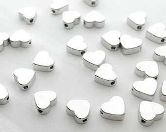 10 Pcs Silver Heart Charm Silver Stamping Blank Charms Silver plated silver blanks bracelet supplies Necklace supplies 10FS-S
