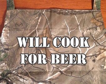 Will Cook For Beer camo Father's day grilling apron