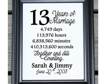 13th Wedding Anniversary Cotton Print 13th Wedding Gift 13 Years ...