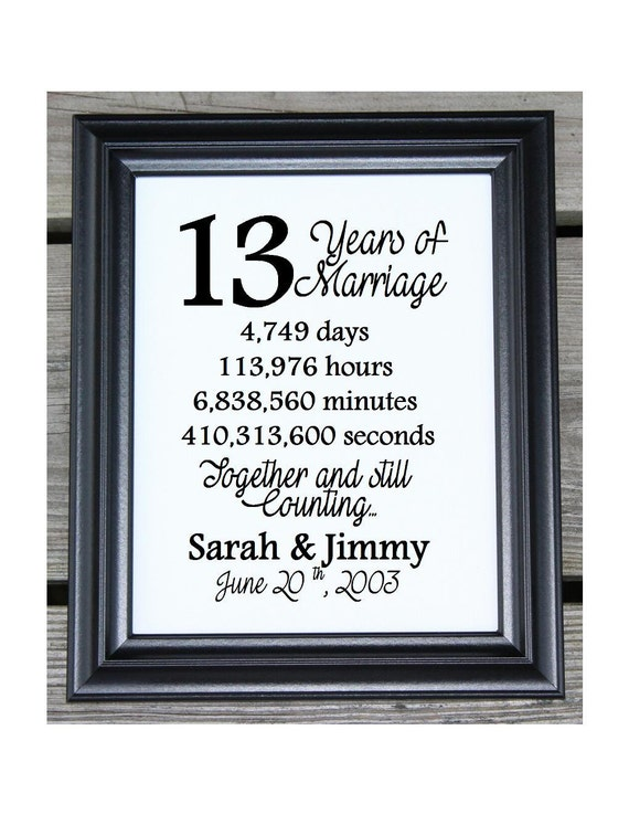 13 Wedding Anniversary Gifts: 13th Wedding Anniversary Cotton Print 13th Wedding Gift 13