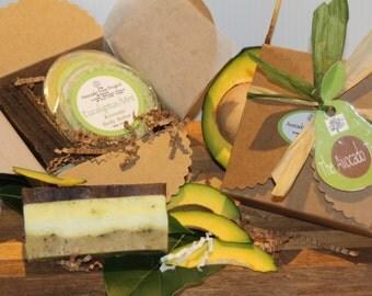 Avocado Soap, Avocado Butter & Avocado Salt Scrubs -Gift Set.  Eucalyptus Mint