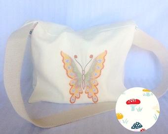 SALE / Messenger Bag / Hemp Bag / Embroidered Bag / Cross-body Bag / Butterfly Bag / Sustainable Fashion / Organic Material / Hemp Purse