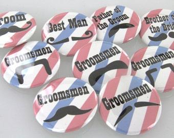 1.5inch Customizable Mustache Groom Button Badges,Mustache Buttons, Barber Shop Buttons, Striped Barber Shop Groom Button, Magnet, Key Chain