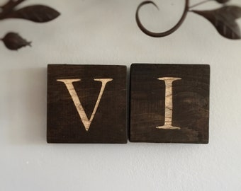 Carved Letter Wooden Block